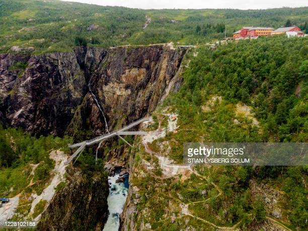 Picture taken on August 18, 2020 shows an aerial view of a new bridge near the Vøringsfossen waterfall close to Eifjord in Hardanger, western Norway....