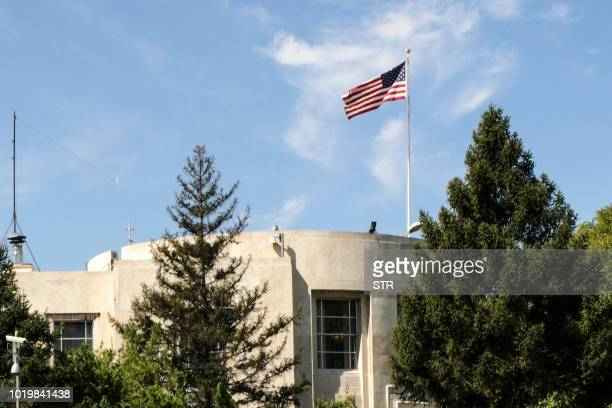 Picture taken on August 20, 2018 shows a general view of the US Embassy, in Ankara. - Gunshots were fired early on Augsut 20, 2018 at the US embassy...