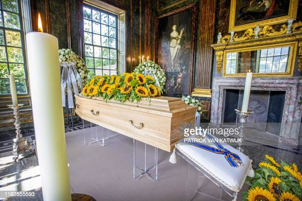 Picture taken on August 20, 2019 shows the casket of late Princess Christina in the Dome of Fagel on the grounds of Noordeinde Palace in The Hague,...