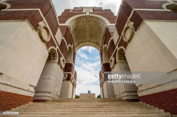 A picture taken on August 21 2014 in Thiepval shows the World War I FrenchBritish memorial during the commemoration of the 100th anniversary of the...
