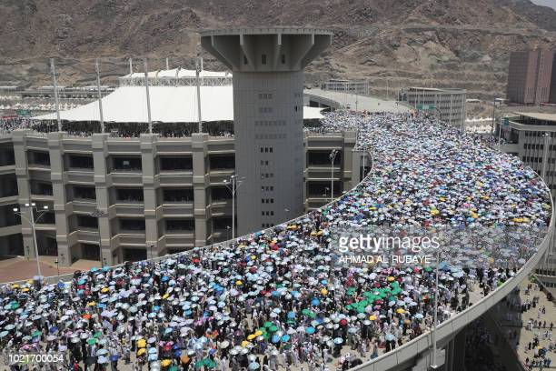 A picture taken on August 23 2018 shows the walkway leading to the pillars where Muslim pilgrims partake in the symbolic stoning of the devil at the...
