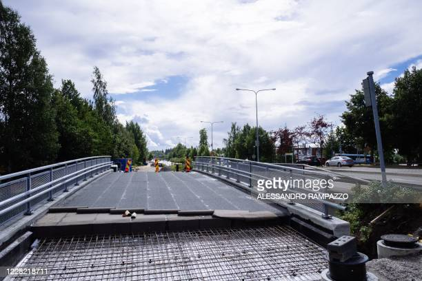 Picture taken on August 24, 2020 shows a new bicycle highway under construction in Lahti, where a pilot project is implemented to quantify the...