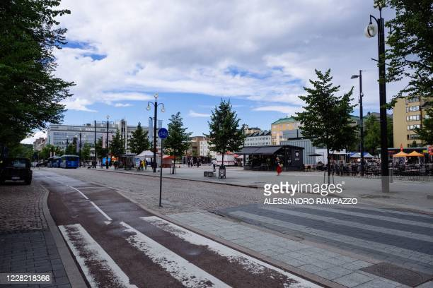 Picture taken on August 24, 2020 shows a view of the market square in Lahti, where a pilot project is implemented to quantify the personal carbon...