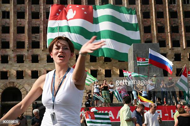 Picture taken on August 26 2008 shows Residents of Sukhumi celebrating the recognition of Abkhazian independence by Russian Federation in Sukhumi...
