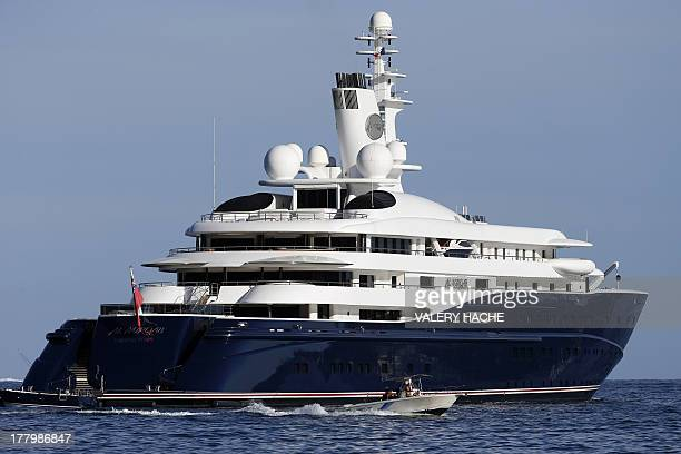 A picture taken on August 26 2013 shows the 133meter yacht Al Mirqab owned by Qatar's Emir Hamad Bin Khalifa Al Thani off the coast of BeaulieusurMer...