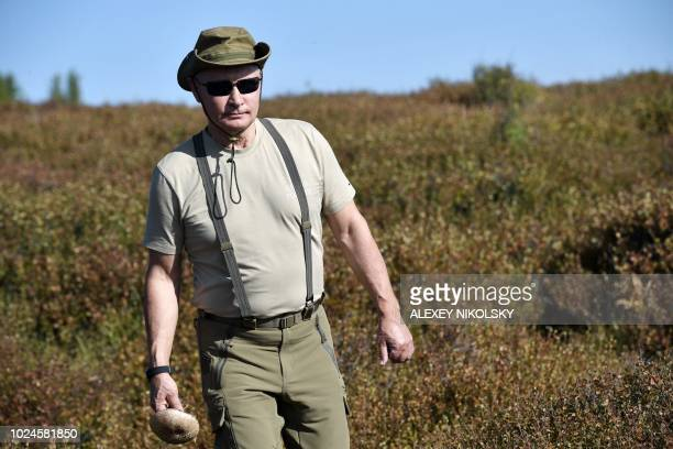 TOPSHOT A picture taken on August 26 shows Russian President Vladimir Putin walking while holding a mushroom during a short vacation in the remote...