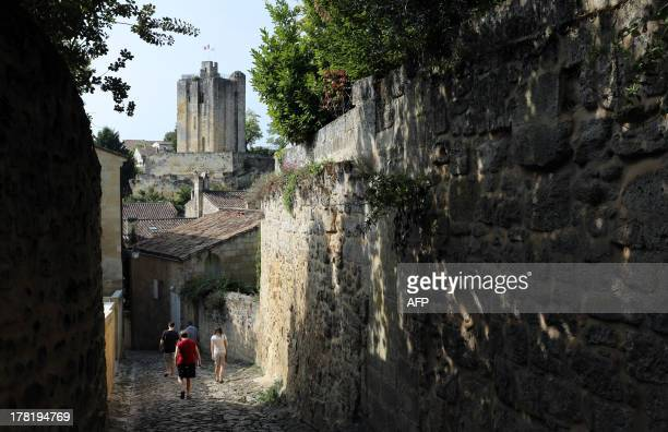A picture taken on August 27 2013 shows a street of the village of SaintEmilion southwestern France SaintEmilion is one of the principal red wine...