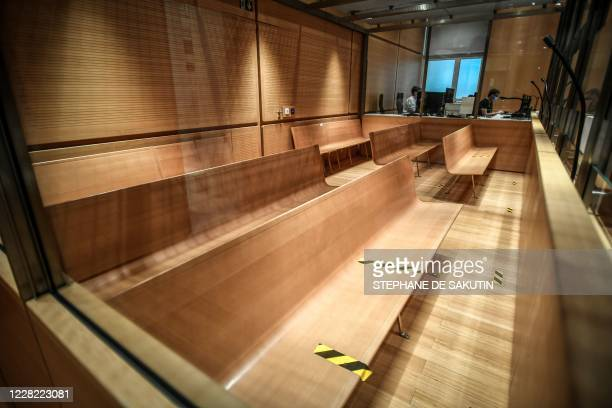 Picture taken on August 27, 2020 at the Paris courthouse shows benches in the courtroom during preparations prior to the opening of the trial of the...