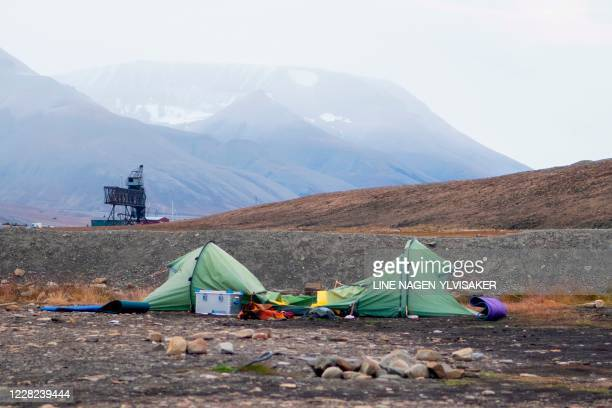 A picture taken on August 28 2020 at a camping site outside Longyearbyen Norway shows a view of the tent of Dutch citizen Johan Jacobus Kootte who...