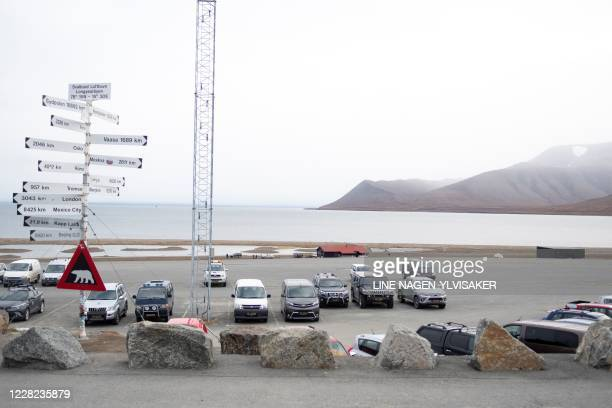 A picture taken on August 28 2020 outside Longyearbyen Norway shows a view of a camp site where a man died after being attacked by a polar bear /...