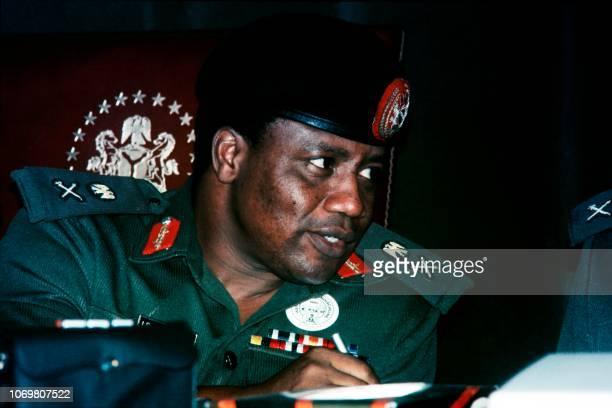 Picture taken on August 29 1985 shows President of Nigeria Ibrahim Babangida