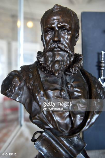 A picture taken on August 29 2017 shows a bust of the French surgeon and anatomist Ambroise Pare born in 1510 in BourgHersent near Laval and...