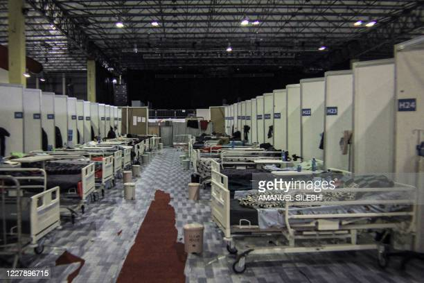 Picture taken on August 3, 2020 shows a view of the makeshift hospital where patients infected by the COVID-19 are treated inside Millenium Hall, one...