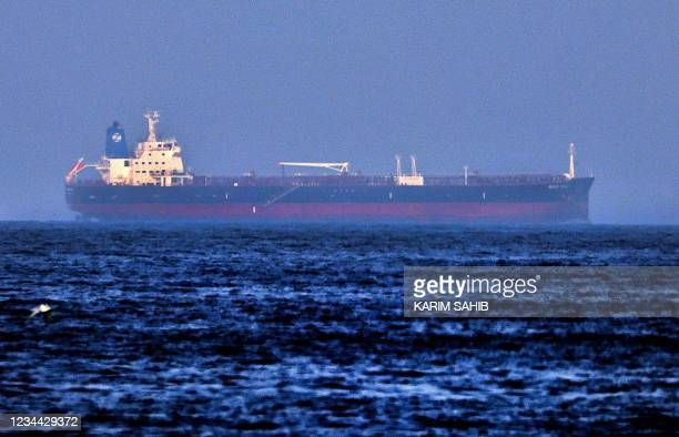Picture taken on August 3, 2021 shows the Israeli-linked Japanese-owned tanker MT Mercer Street, off the port of the Gulf Emirate of Fujairah in the...