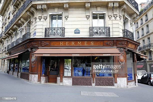 A picture taken on August 30 2013 shows the frontage of a French luxury goods firm Hermes' shop in Paris French luxury fashion group Hermes known for...
