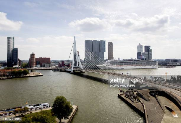 Picture taken on August 30, 2019 shows the cityscape of Rotterdam after the announcement of the host city of the Songfestival 2020. / Netherlands OUT