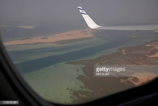 Picture taken on August 31 shows a view from the window of the the El Al's flight LY971, which will carry the delegation from Tel Aviv to Abu Dhabi,...
