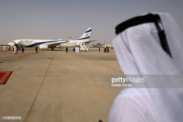 Picture taken on August 31 shows the El Al's airliner, which is carrying a US-Israeli delegation to the UAE following a normalisation accord, landing...
