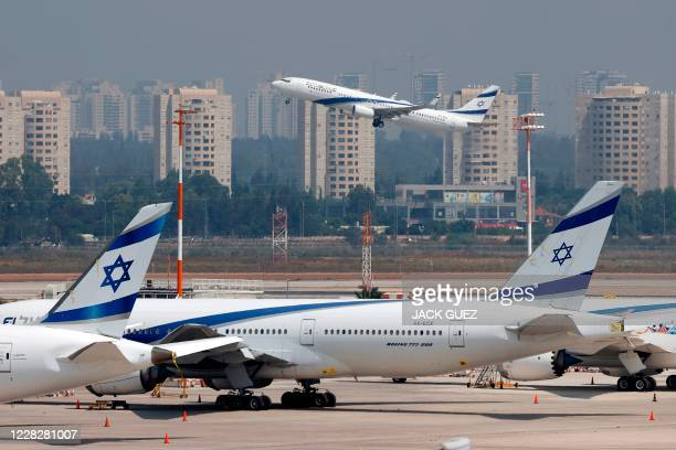 Picture taken on August 31 shows the El Al's airliner, which will carry a US-Israeli delegation to the UAE following a normalisation accord, lifting...