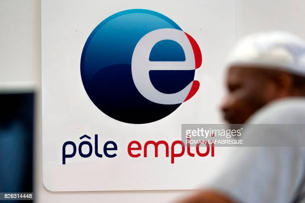 A picture taken on August 4 2017 shows the logo of France's national employment agency Pole Emploi in the Part Dieu district in Lyon central eastern...