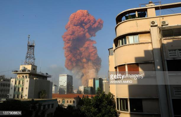 A picture taken on August 4 2020 from the Hamra district in the centre of the Lebanese capital Beirut shows a smoke plume rising following a huge...