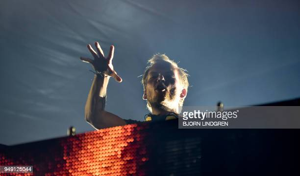 Picture taken on August 5 2016 shows Swedish musician DJ remixer and record producer Avicii performing at Pildammsparken in Malmo southern Sweden It...