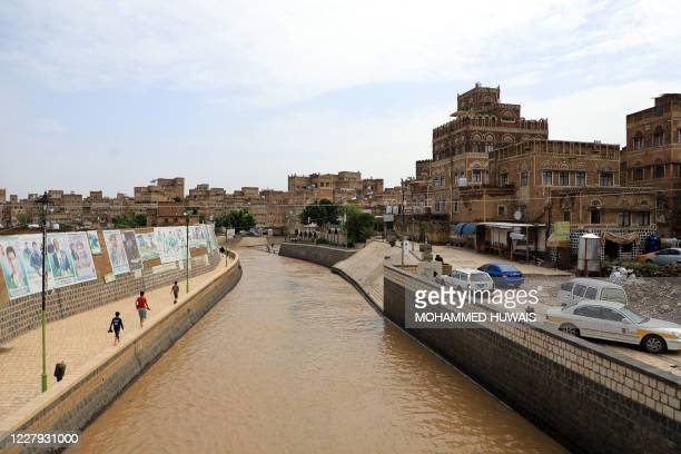 Picture taken on August 5, 2020 shows the facade of some of the UNESCO-listed buildings in the old city of the Yemeni capital Sanaa following heavy...