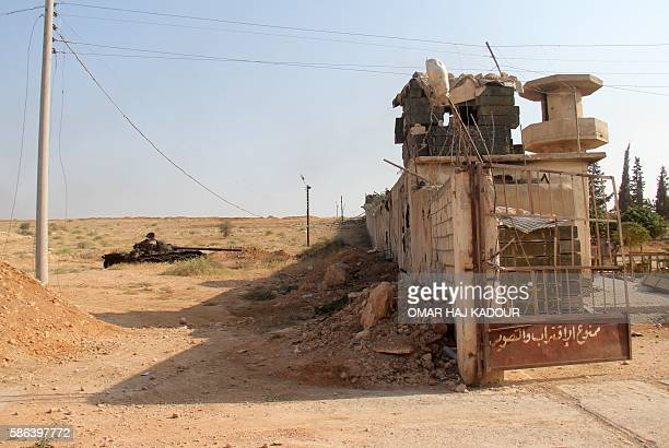 A picture taken on August 6 2016 shows an entrance to a military academy south of Aleppo after the former AlNusra Front renamed Fateh alSham Front...