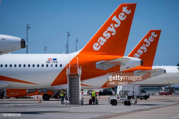 A picture taken on August 6 2018 shows EasyJet planes on the tarmac Roissy Charles de Gaulle Airport north of Paris