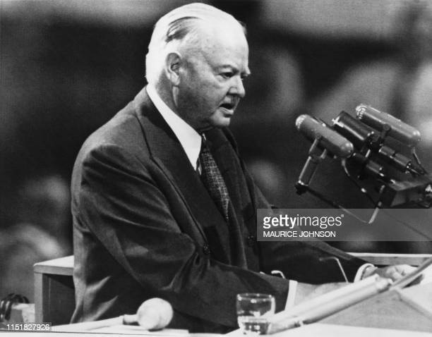 Picture taken on August 7, 1952 at Chicago showing former American President Herbert Hoover during his speech at the Republican national convention....