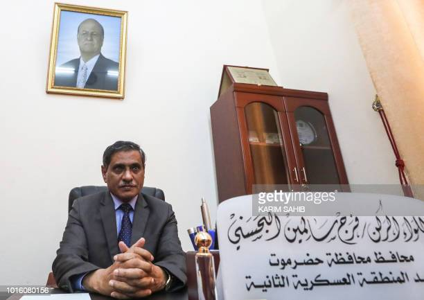 A picture taken on August 7 2018 during a trip in Yemen organised by the UAE's National Media Council shows Major General Faraj Salemin alBahsani...