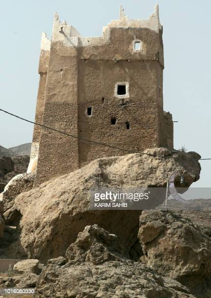 A picture taken on August 7 2018 during a trip in Yemen organised by the UAE's National Media Council shows an historic building in the old city of...