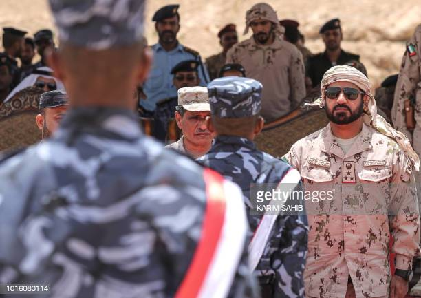 A picture taken on August 8 2018 during a trip in Yemen organised by the UAE's National Media Council shows Emirati Brigadier General Ali Saif Al...