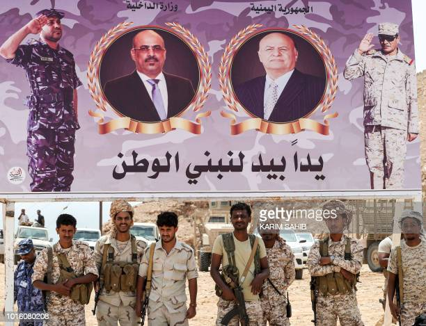 A picture taken on August 8 2018 during a trip in Yemen organised by the UAE's National Media Council shows Yemeni soldiers loyal to the Saudi and...