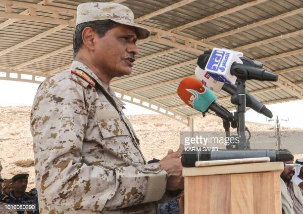 A picture taken on August 8 2018 during a trip in Yemen organised by the UAE's National Media Council shows Major General Faraj Salemin alBahsani...