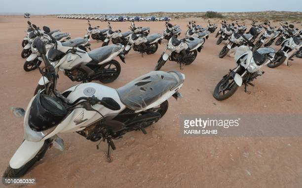 A picture taken on August 8 2018 during a trip in Yemen organised by the UAE's National Media Council shows police motorcycles provided by the UAE to...