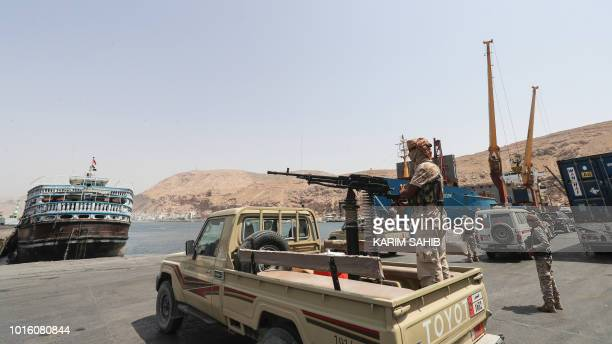 A picture taken on August 8 2018 during a trip in Yemen organised by the UAE's National Media Council shows a Yemeni soldier loyal to the Saudi and...