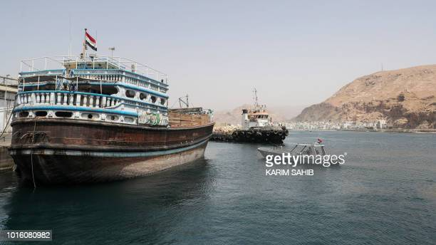 A picture taken on August 8 2018 during a trip in Yemen organised by the UAE's National Media Council shows a Yemeni military patrol boat cruising...