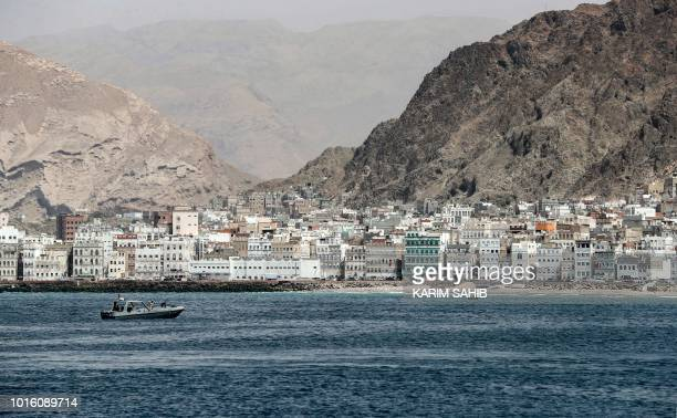 TOPSHOT A picture taken on August 8 2018 during a trip in Yemen organised by the UAE's National Media Council shows a view of the waterfront of the...