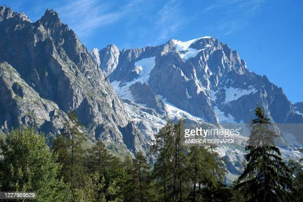 A picture taken on August 8 2020 shows the the Planpincieux glacier in Courmayeur village Val Ferret northwestern Italy Several dozen people have...