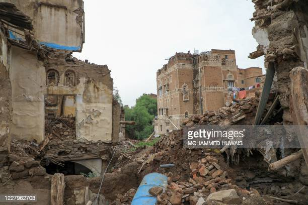 Picture taken on August 8 shows a collapsed UNESCO-listed building in the old city of the Yemeni capital Sanaa following heavy rains.