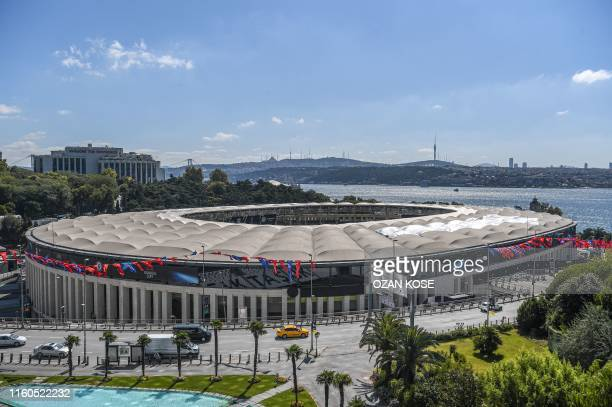 Picture taken on August 9, 2019 in Istanbul shows Besiktas Vodafone Park stadium ahead of the upcoming UEFA Super Cup football match between...