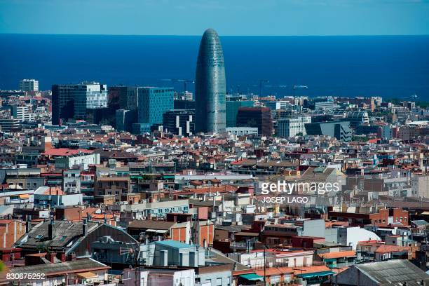 A picture taken on August 9 shows The Agbar tower in Barcelona candidate to host the European Medicines Agency headquarters Barcelona is one of the...