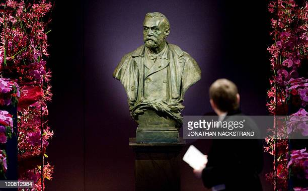 A picture taken on December 10 2010 shows the statue representing Swedish industrialist Alfred Nobel at the Stockholm Concert Hall in Stockholm AFP...