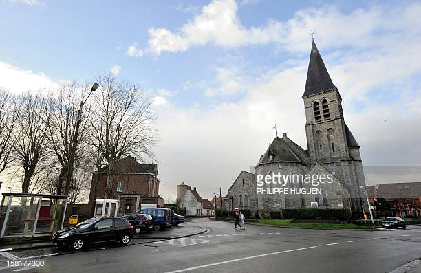 Picture taken on December 10 2012 of the church square of Nechin a Belgium village close to the French border and where France's best known actor...