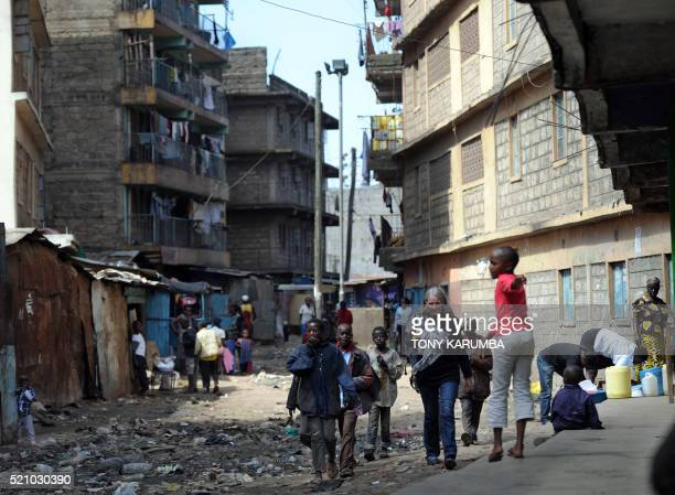 A picture taken on December 10 2015 shows Lenore Boyd an Australian artist running a rehabilitation project in Nairobi's lowincome and densely...