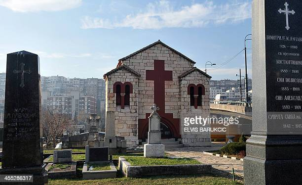 A picture taken on December 11 2013 in Sarajevo shows a memorial chappel dedicated to Bosnian ethnic Serb Gavrilo Princip and his accomplices who...