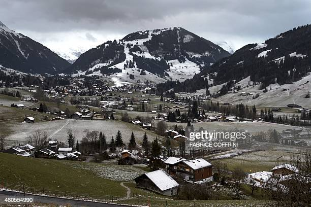 A picture taken on December 11 2014 shows the Swiss resort of Gstaad With a little over a week until Christmas the lack of snow at top European ski...