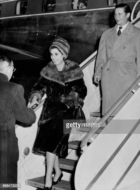 A picture taken on December 12 1960 shows the daughter of Franco Marquessa of Villaverde Carmen Franco and her husband Cristobal MartinezBordiu...