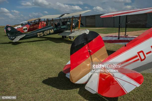 A picture taken on December 12 2016 shows aircrafts after they landed at Baragwanath airfield as part of the Vintage Air Rally airshow A dozen...